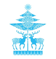 Christmas card snowlakes and deers vector