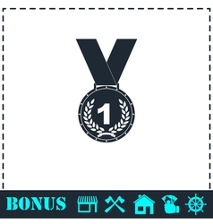 Medal icon flat vector