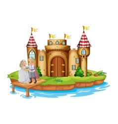 A prince and a princess at the wooden bridge near vector image