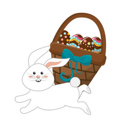 hamper with eggs inside and rabbit running vector image