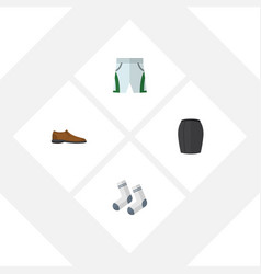 flat icon dress set of foot textile trunks cloth vector image
