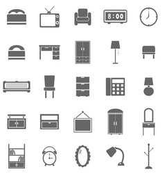 Bedroom icons on white background vector
