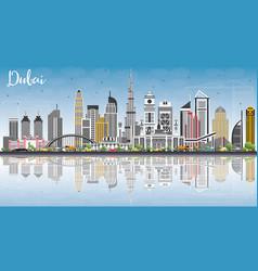 Dubai uae skyline with gray buildings blue sky vector