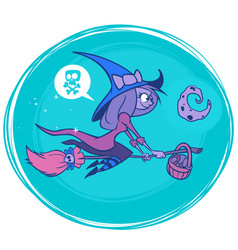 18 witch on broom postcard vector image vector image