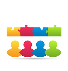 Icon team of business people with jigsaw puzzle vector