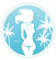 summer women palm vector image