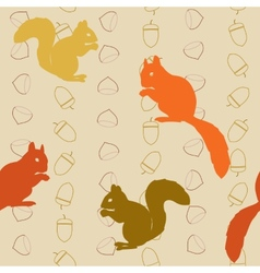 Seamless pattern with squirrels and nuts vector