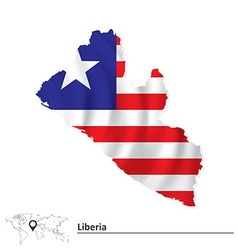 Map of liberia with flag vector
