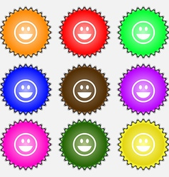 Funny face icon sign a set of nine different vector