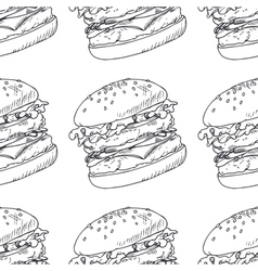 Seamless pattern with sketched burger cheeseburger vector