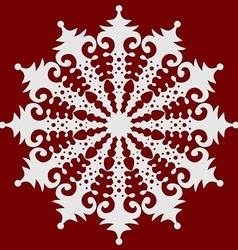 White snowflake on red winter background abstract vector