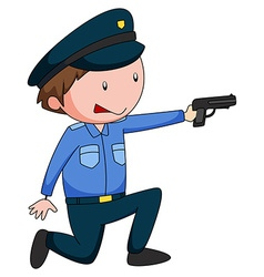 Policeman in uniform shooting a gun vector