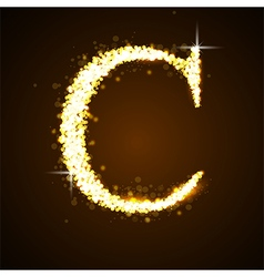 Alphabets c of gold glittering stars vector