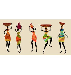 African women in traditional dress vector