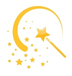 Magic wand stars flat icon cartoon vector