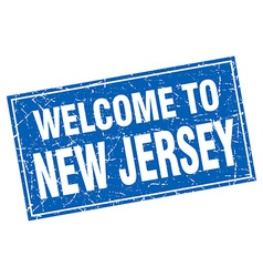 New jersey blue square grunge welcome to stamp vector