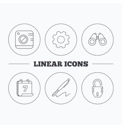 Photo open lock and search icons vector