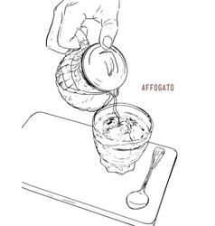 Affogato coffee hand drawn sketch line art vector