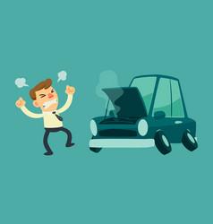 Business man and broken car vector