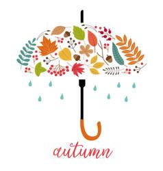 card autumn leaves as umbrella vector image