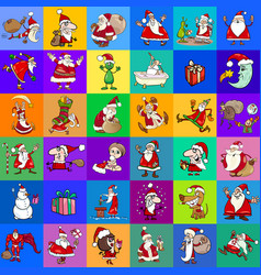 cartoon christmas characters pattern vector image vector image