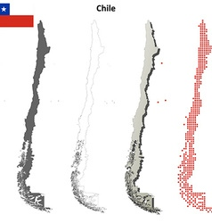 Chile outline map set vector image