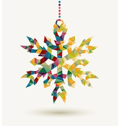Christmas holidays triangle snowflake background vector image