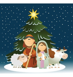 Christmas nativity scene with holy family vector image vector image