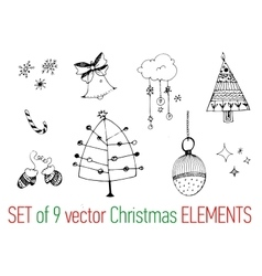 Collection of hand drawn christmas elements vector