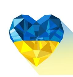 Crystal gem jewelry ukrainian heart with the flag vector