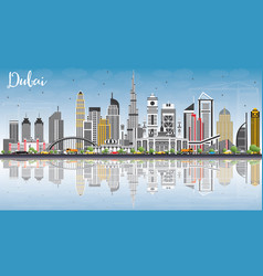 Dubai uae skyline with gray buildings blue sky vector