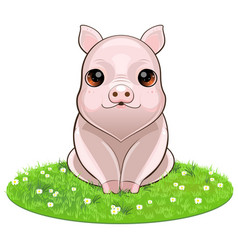 happy smiling little baby pig vector image