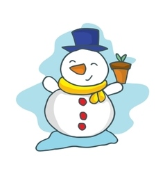 Happy snowman cartoon collection stock vector image