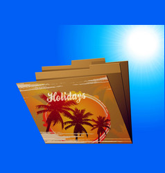Holidays manila folder with tropical print vector