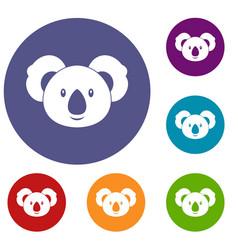 koala icons set vector image