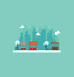 Landscape of street shop style collection vector