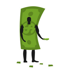 money mascot man promoter male in dollar costume vector image