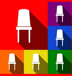 Office chair sign set of icons with flat vector