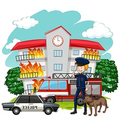 Policeman and dog at fire scene vector