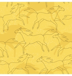 Running horses seamless pattern vector image