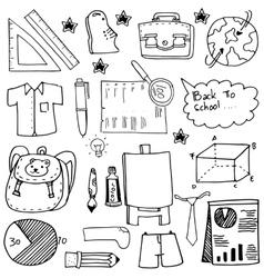 School education doodles suplies bag paper board vector image vector image