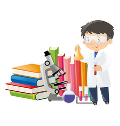 scientist and science equipment vector image