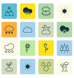 Set of 16 nature icons includes raindrop cold vector