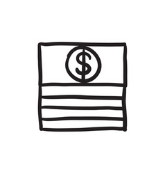 Stack of dollar bills sketch icon vector