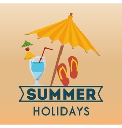 Summer holidays beach umbrella flip flop cocktail vector