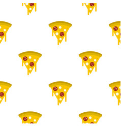 Tasty slice of pizza with melted cheese pattern vector