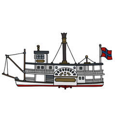 The historical paddle steamboat vector