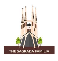 Travel to spain sagrada familia flat vector