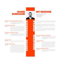 Typographic minimalist cv resume template vector