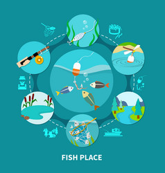 Underwater piscary fishing composition vector